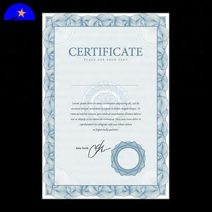High-quality Black watermark security thread blue fiber transcript paper,customized security thread award certificate paper