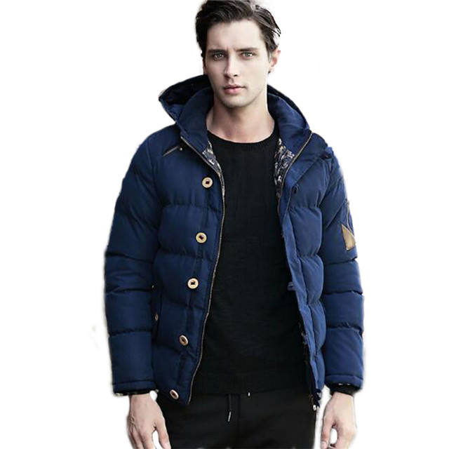 Winter Cotton Padded Jacket Men Navy Puffer Down Jacket