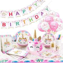 Unicorn Party Supplies Unicorn Birthday Party Decorations with Birthday Banner Unicorn Balloons Cake Topper Cake Cutter Candles