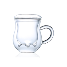 Cow shape high quality exquisite glassware office double  glass cup