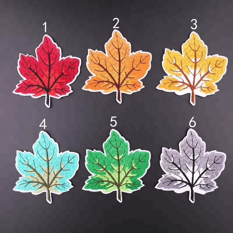 wholesale maple leaf embroidery patches iron on embroidered leaves with different colors
