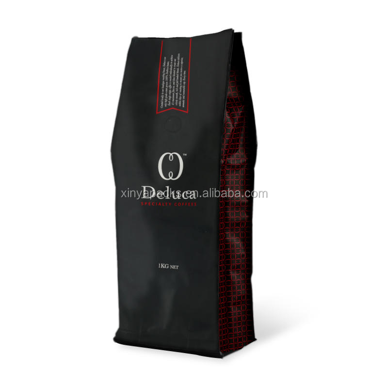 Custom Printing Side Gusset 1kg/500g/250g/200g/100g Coffee Packaging Bags For Ground Coffee beans With Valve