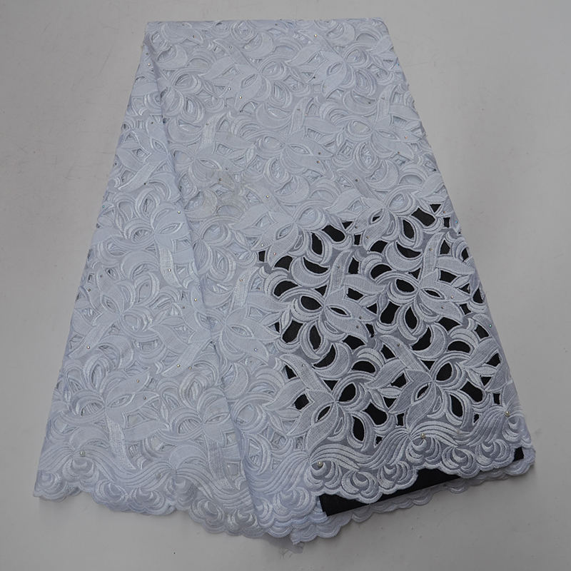 white color cotton lace fabric with stone Embroidery Dry lace fabric African swiss Voile lace fabric