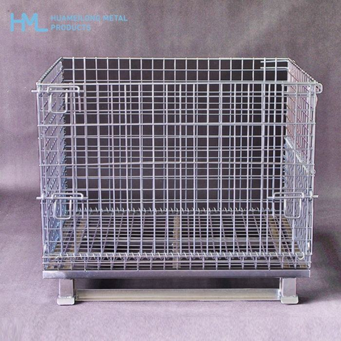Hot sale folding warehouse rigid forklift steel stackable spray storage wire mesh security metal cages from China