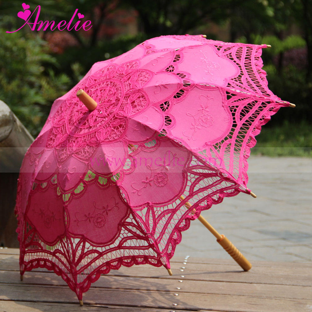 Solid Dyed Colors Battenburg Lace Victorian Wedding Umbrella Fashion Lady Lace Parasol Photo Shoot Prop Actor Umbrella