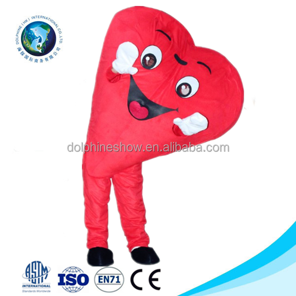 2016 Valentine party red heart mascot costume fashion custom cute plush adult mascot costume