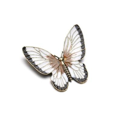 popular vivid cute little white and black side wings imitate butterfly alloy collar brooch for Women