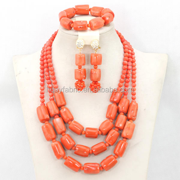Nigerian Coral Beads Jewelry Set African Chunky Statement Necklace Set Bride Gift Beads Set JS0016