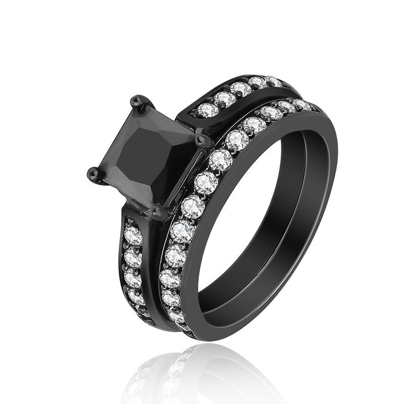 Classic timeless onice nero occidentale di fidanzamento wedding ring lui e per lei coppia lover