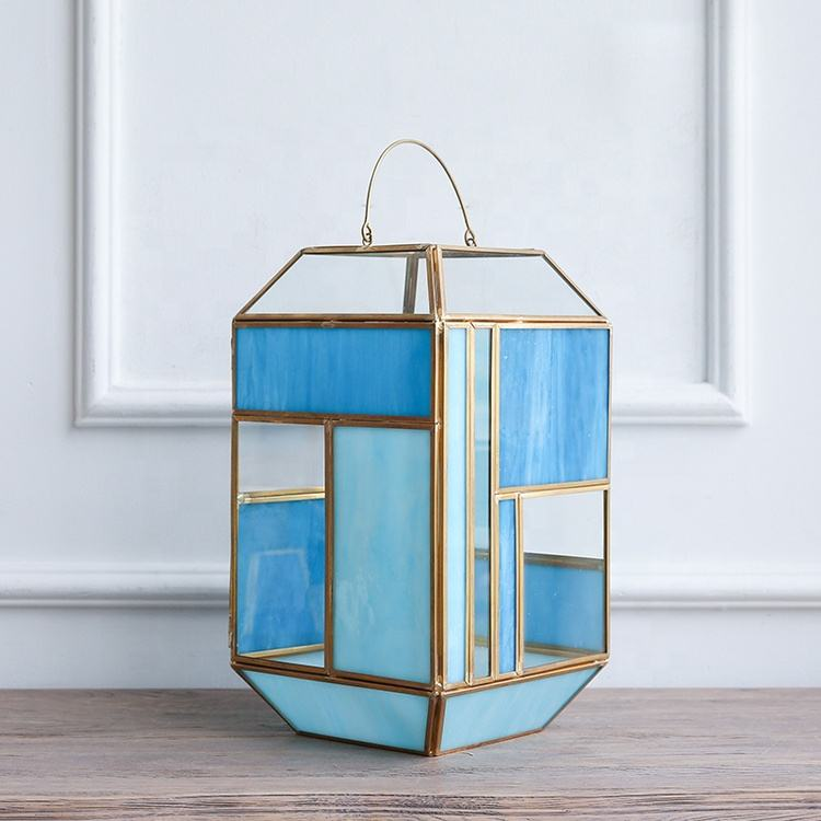 Bixuan Candle Lanterns Tiffany Stained Church Glass Brass Frame Hanging Hurricane Tea Light Holder Lamp (12.6'' H x 7.1'' D)
