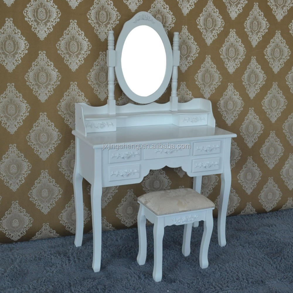 makeup dresser with mirror and stool,wooden dresser