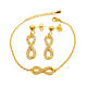 European fashion style infinity crystal bridal jewelry set indian cheap rhinestone necklace and earring