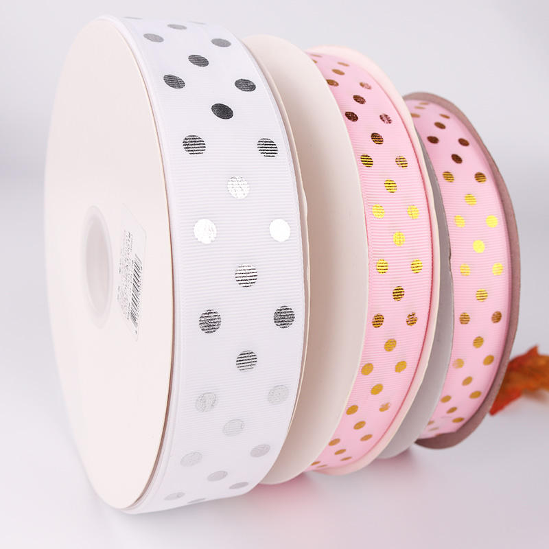 Best selling customized grosgrain ribbon with Polka Dot Printing 1 inch gold silver foil ribbon