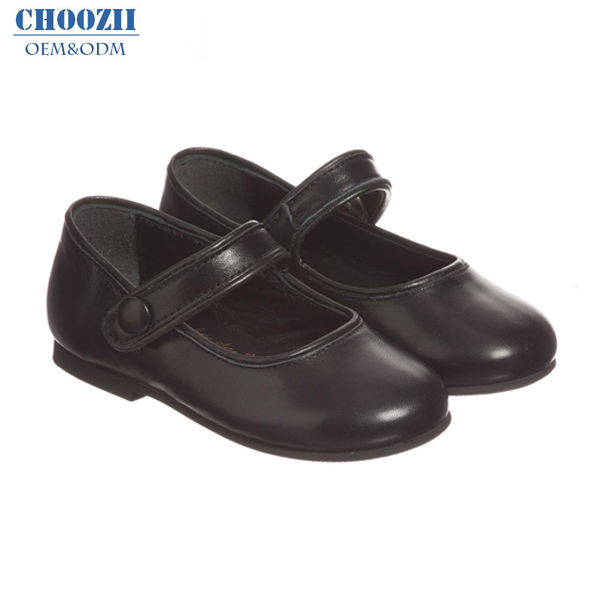 Autumn Popular Casual Choozii Wholesale Girls Designer Mary Jane Shoes PU Leather Black Light Weight Flats Shoes Girls
