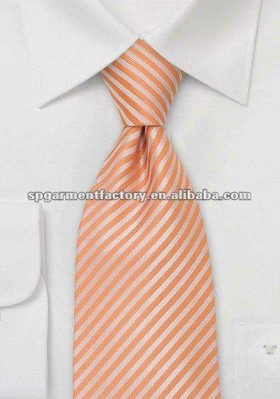 tangerine polyester neckties with narrow stripes