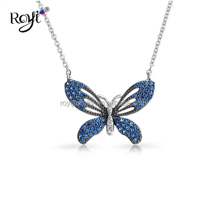 Fancy Jewelry Designs For Girls 925 Sterling Silver Spinel Blue CZ Butterfly Necklace