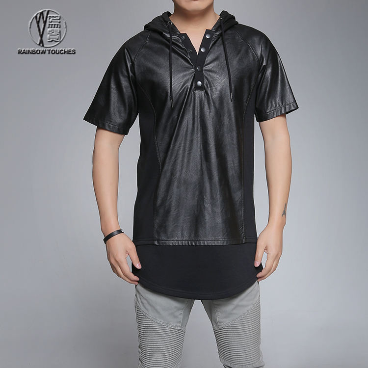 2016 funky short sleeve PU leather hoodies with scoop hem