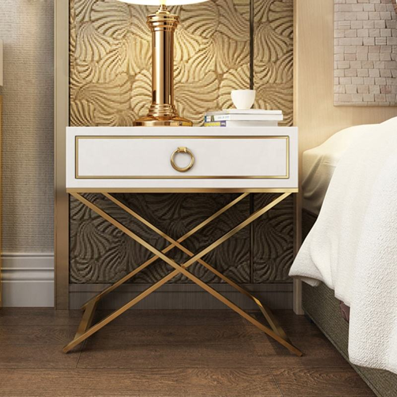 Elegant design bedroom furniture rose gold leg nightstand bed side table