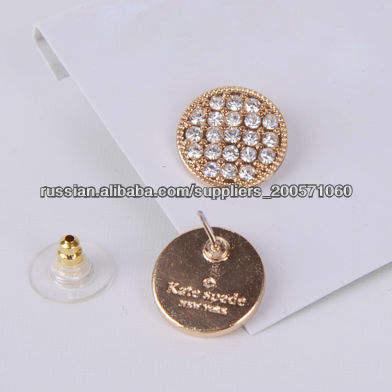 Рейтинг бренда Bling кристаллическая серьги, Очаровательная позолоченные серьги шпильки проложить кристаллов, кристалл проложить