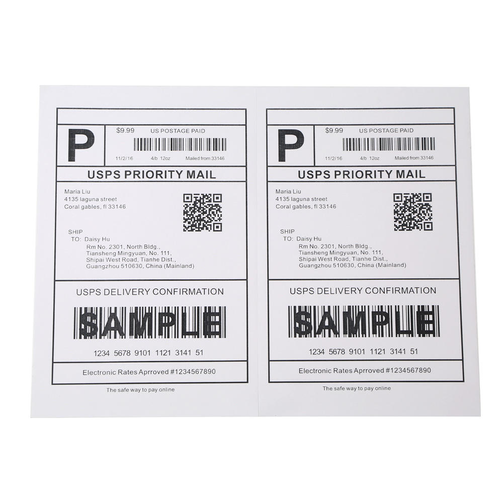 "Top quality letter size 8.5"" x 11"" a4 address half sheet label sticker shipping paper for Amazon FBA"