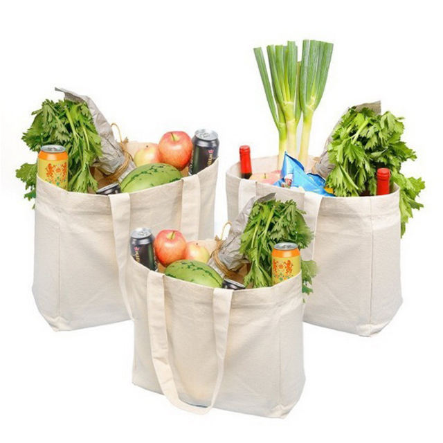 Eco-friendly fruit vegetable grocery reusable muslin organic cotton produce shopping bags