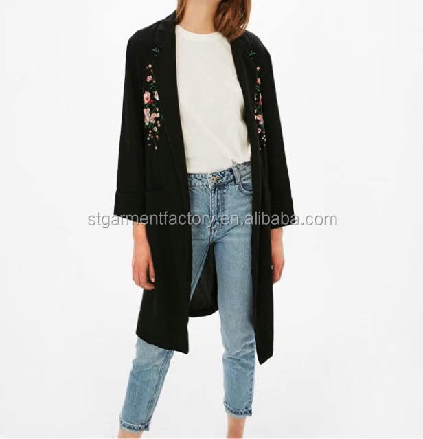 High Quality Floral Embroidery Jacket Coat Vintage Wide-waisted Big Pocket Long Trench Coat Plus Size Outwear Clothes STb-0530
