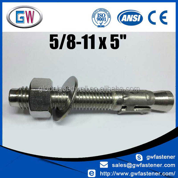 m8 m10 m12 m16 m20 m24 304 316 stainless wedge anchor bolt