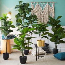 TH-15 Hot wholesale artificial ficus bonsai trees plastic faux plastic inddor plants fiddle leaf fig tree