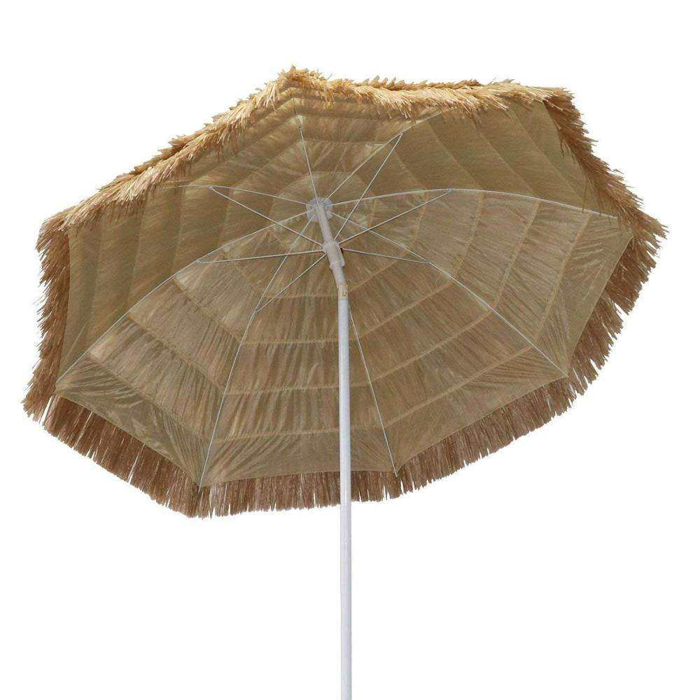 8.2 Feet Tiki Thatched Hula Beach Crank Open System in Natural Retro Style straw beach umbrella