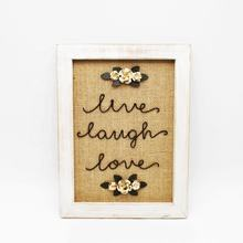 Burlap and Wood Wall Art Sign Plaque with Motivational Quotes Live Laugh Love