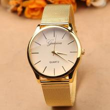 Geneva Brand Gold Alloy Quartz Watch Mens Watches With Mesh Strap