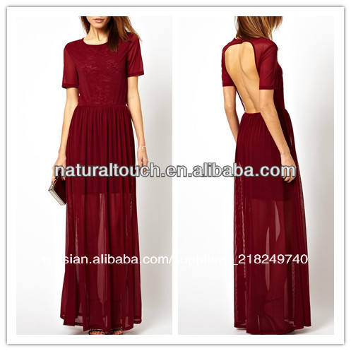 то с коротким рукавом, кружевами платье макси( ylq03048)