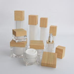cosmetic jar Wood grain cap jar square 15ml 30ml 50ml 100ml plastic cream jar