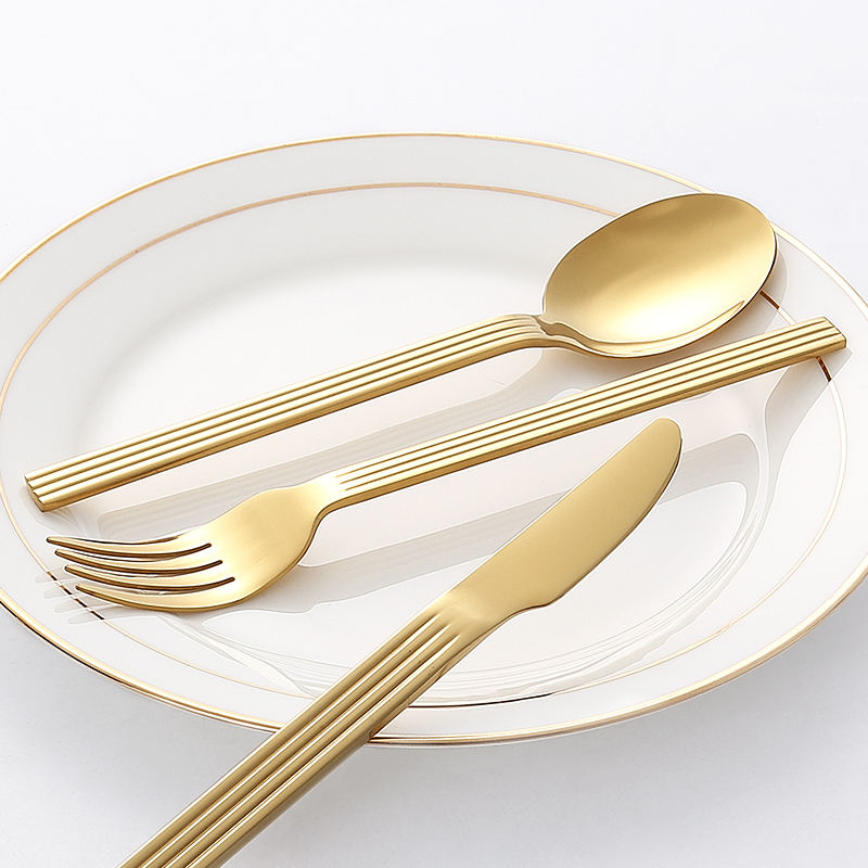 stainless steel promotion spoon fork knife gift cutlery mirror polish PVD gold cutlery