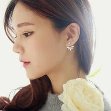 Korean Gold and Silver Plated Leave Crystal Stud Earrings Fashion Statement Jewelry Earrings for Women