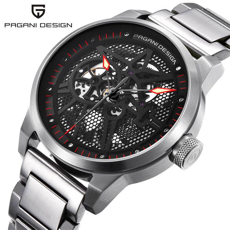 PAGANI PD 1625 Skeleton Mechanical Watch Men Automatic Hollow Fashion Luxury Brand all stainless steel Sport Watch