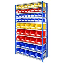warehouse storage shelf and plastic bin plastic box
