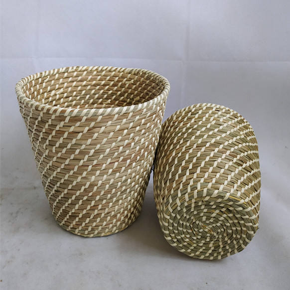 Latest style set of 2 handmade round seagrass basket