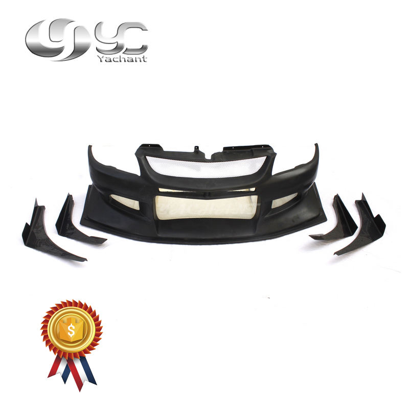 Trade Assurance FRP Fiber Glass VTX Cyber Version Style Front Bumper with Diffuser & CF Canards Fit For 2004-2007 Evolution 8-9