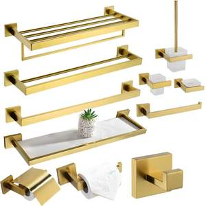 Modern Bathroom Stainless steel Brushed Gold accessory Set