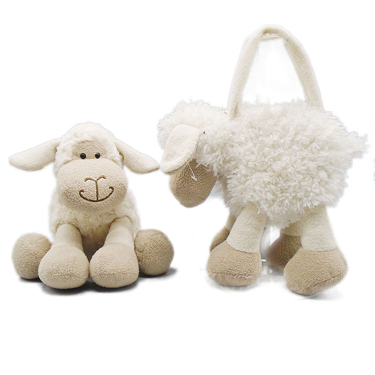 colorful cartoon sheep plush toy school bag