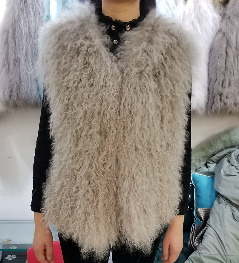 European Style Genuine Tan Sheep Fur Vest for Female