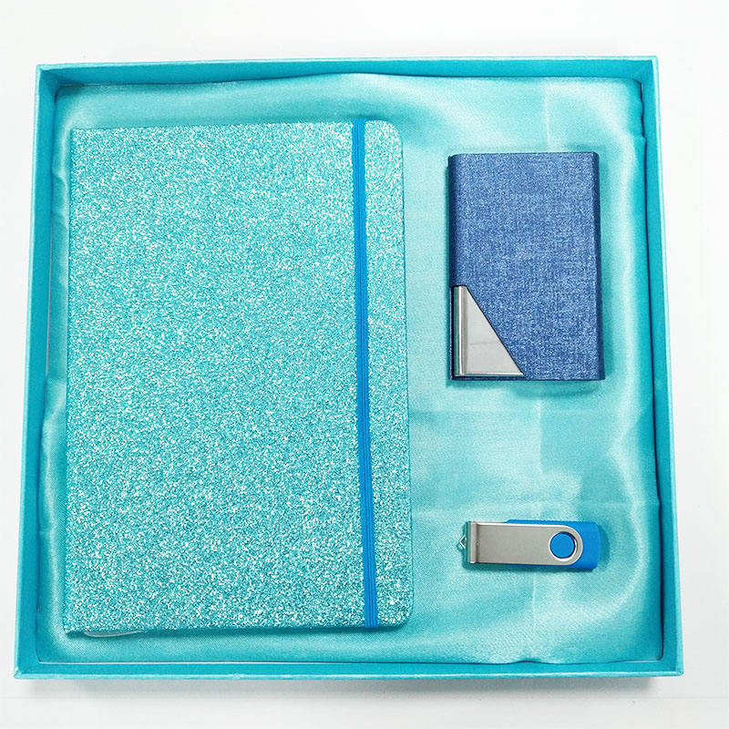 Premium Gift Set With Blue Frosted And Elastic Band Notebook Dark Blue Metal Card Clip And Large Capacity USB Set Business Gift