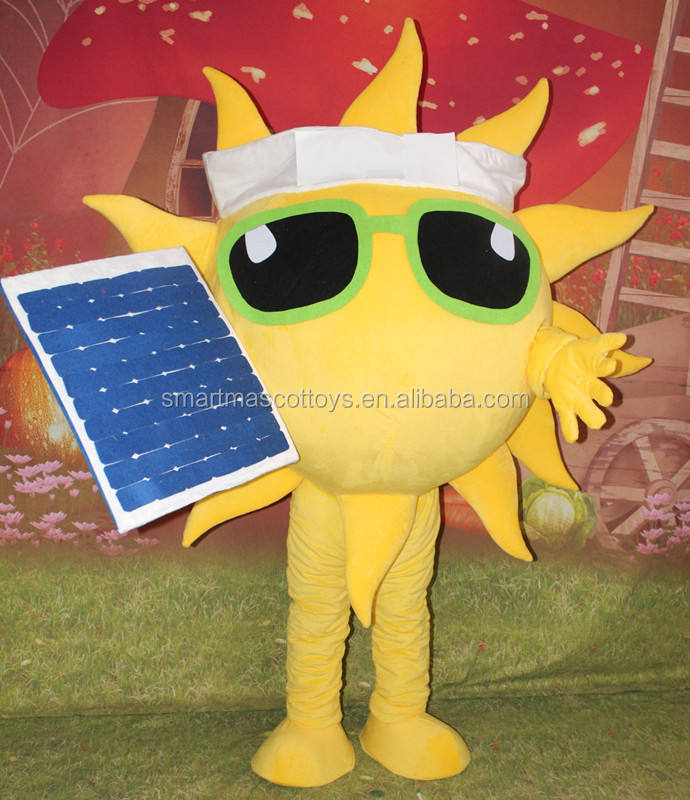 adult solar energy sun mascot costume for cosplay party yellow sun mascot