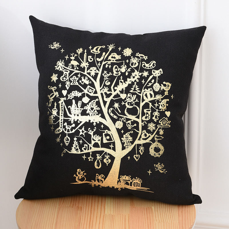 Custom printing cushion covers silver foil cushion cover gold printed pillow