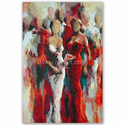 Wall art decorative handmade modern canvas abstract lady oil painting on canvas