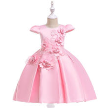 Wholesale children clothing new red satin appliques kids party wear evening dress flower girl dress