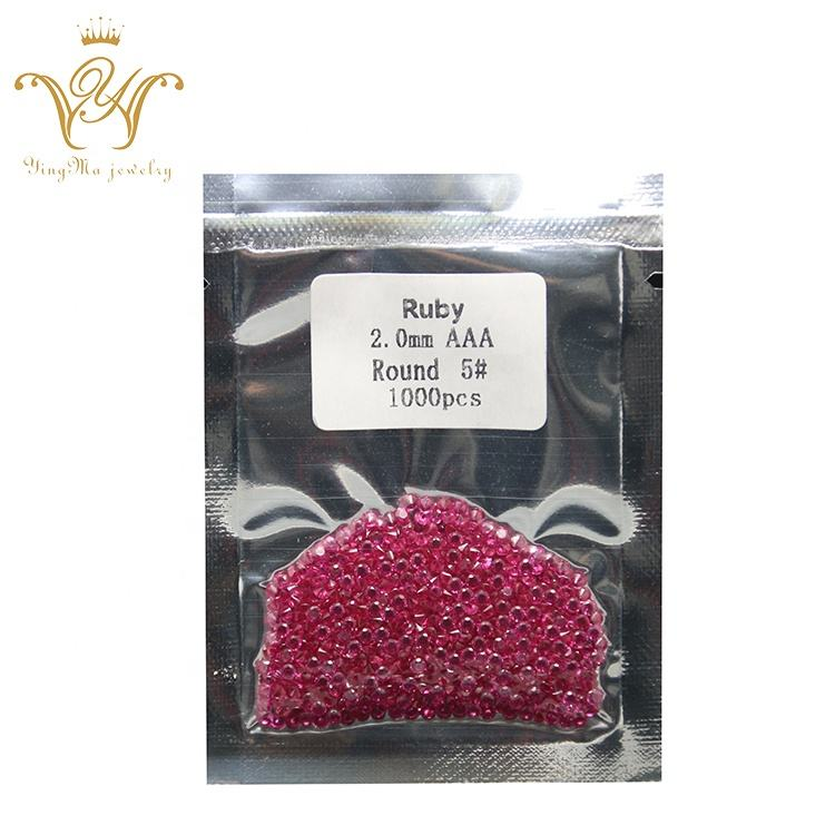 Ruby Rose Warna 2 Mm Sintetis Korundum Batu Permata