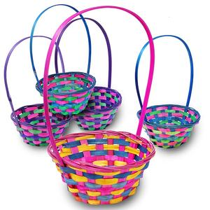 Easter Theme Garden Party Favors Multicolor Round Shapes Bamboo Easter Baskets