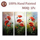 Room Decoration 3 Panel Canvas Wall Art Group Modern Oil Painting with Red flowers Subject